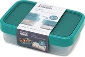 Joseph Joseph Go Eat Compact Lunchbox - 19.2x13.5x6 cm - 1.2 liter - 2 in 1 - Teal
