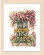 borduurpakket PN0171411 balkon met bloemen