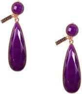 Otazu - Purple Agate Oorbellen - Rosékleurig