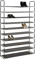 TecTake metalen schoenenrek - 10 niveaus - Zwart