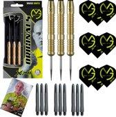 Michael van Gerwen - 100% brass - 20 gram - dartpijlen - gesigneerde foto - 9  dartshafts + 9 dartflights