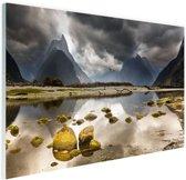 Milford Sound Nieuw-Zeeland Glas 30x20 cm - Foto print op Glas (Plexiglas wanddecoratie)