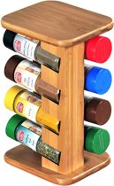Staand FSC® Bamboe Houten Kruidenrek voor 8 potjes | Staand Spice rack |  Kruiden organiser | Kruiden specerijen | Kruidenhouder | Kruidenrekje voor Kruiden potjes | Kruiden Opberg Carrousel | Afm. 25,5 x 15 x 12,5 Cm.