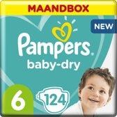 Pampers Baby-Dry - Maat 6 (Extra Large) 13-18 kg - Maandbox 124 Stuks - Luiers