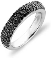Ti Sento Zilveren ring met zwarte zirkonia's