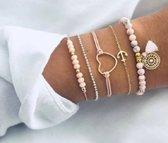 Nr. 3 - Roze armband 5-delig - armband klosje - armband hart - anarmband anker - armband bolletjes - armband kraaltjes - © Tibri (C)