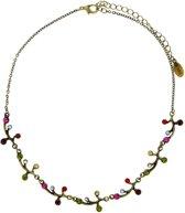Korte goud-kleurige ketting met multi-color steentjes