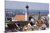 Uitzicht over de daken en huizen van Augsburg in Duitsland Aluminium 90x60 cm - Foto print op Aluminium (metaal wanddecoratie)