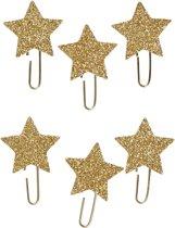 Creotime Paperclips Sterren Glitter Goud 30 Mm 6 Stuks