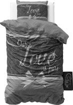 Sleeptime Pure Love - Dekbedovertrek - Eenpersoons - 140x200/220 + 1 kussensloop 60x70 - Grijs