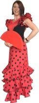 Spaanse jurk - Flamenco jurk Deluxe - Rood Zwart - Maat 44 - Volwassenen - Verkleed jurk