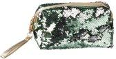 Toilettas/make-up etui groen met pailletten 18 cm - Makeuptassen/Toilettassen - Make-up opbergen - Reis etui