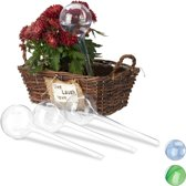 relaxdays waterdruppelaar - set van 4 stuks - watergeefsysteem - plantbewateringssysteem doorzichtig