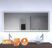 Design badkamer LED spiegel met verwarming en sensor 140x60 cm