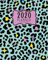 2020 Planner Weekly And Monthly: 2020 planner January To December - Calendar Views And Vision Board - Mint Green And Pastel Colors Animal Print Patter