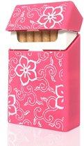 Handig Siliconen Sigarettendoosje - Etui - Roze Bloem - Sigaretten Opbergen - Cover - Case