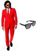 Rood heren kostuum / pak - maat 46 (S) met gratis zonnebril
