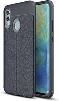 Teleplus Samsung Galaxy M20 Leather Textured Silicone Case Navy Blue + Full Closure Glass hoesje