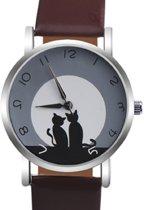 Horloge- Poes- Bruin- 38 mm