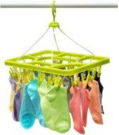 Multifunctionele XL Kledingrek/Droogrek Hanger Met 24 Knijpers - Sokken / Ondergoed - Baby / Kind Hanger Klerenhanger - Groen