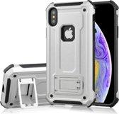 Let op type!! Schokbestendige PC + TPU Armor beschermende case voor iPhone XS  met houder (zilver)