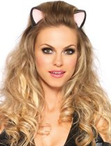 Leg Avenue 'Haarband met latex katten oren', Model A2734 (Zwart)