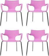24Designs Set 4 Stoelen Jim Armleuningen - Roze
