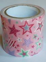 masking tape Roze met Sterren U - decoratie washi papier tape - 48 mm x 4 m