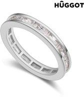 Hûggot Mode Ring van geplateerd rhodium met zirkonen 17,5 mm