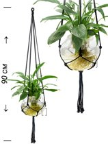 Zwarte macrame plantenhanger 100% katoen