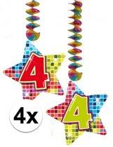 4x Hangdecoratie sterren 4 jaar - verjaardag versiering
