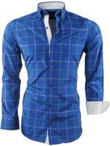Montazinni - Heren Overhemd - Geblokt - Sax Blue
