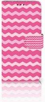 Huawei Nova 4 Uniek Boekhoesje Waves Pink