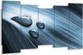 Schilderij | Canvas Schilderij Macro, Druppel | Blauw, Grijs | 150x80cm 5Luik | Foto print op Canvas