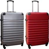 2 delige ABS kofferset 95 liter zilver en rood (228)