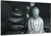 Schilderij | Canvas Schilderij Boeddha, Stenen | Grijs, Groen, Zwart | 120x70cm 1Luik | Foto print op Canvas