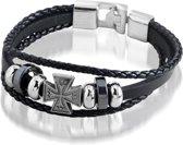 Montebello armband Kelt - Heren - Metaal - PU Leer - Kruis - 20 cm