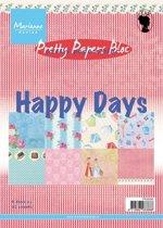 Marianne Design Pretty papers blocs  Pk9095 Paperbloc Happy Days