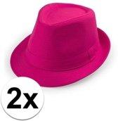 2x Voordelige Toppers roze trilby hoedjes