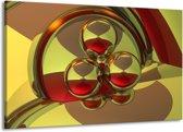Canvas schilderij Abstract   Groen, Rood   140x90cm 1Luik