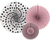 Papieren Waaiers Roze Zwart Set 3 delig