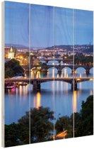 FotoCadeau.nl - De vele bruggen van Praag Hout 40x60 cm - Foto print op Hout (Wanddecoratie)