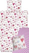 Beddinghouse Kids Pretty Hearts Dekbedovertrekset inclusief hoeslaken en sierkussen - Pink - 1-persoons - 140x200/220