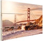 Golden Gate Bridge Hout 30x20 cm - klein - Foto print op Hout (Wanddecoratie)