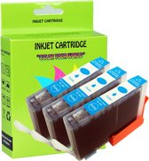 3 Pack Compatible Canon CLI-521 C*3 inktcartridges, 3 pak. 3 cyaan,
