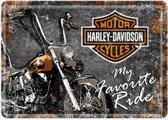 Metal card harley davidson my favourite ride -10x14cm-