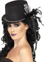 Skelet hand en veren hoge hoed voor vrouwen - Verkleedhoofddeksel