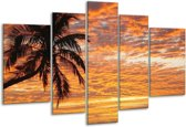Glasschilderij Zonsondergang | Geel, Zwart, Oranje | 170x100cm 5Luik | Foto print op Glas |  F000702