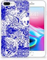 Apple iPhone 7 Plus   8 Plus Uniek TPU Hoesje Angel Skull Blue