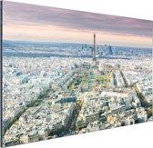Luchtfoto Parijs met de Eiffeltoren Aluminium 90x60 cm - Foto print op Aluminium (metaal wanddecoratie)